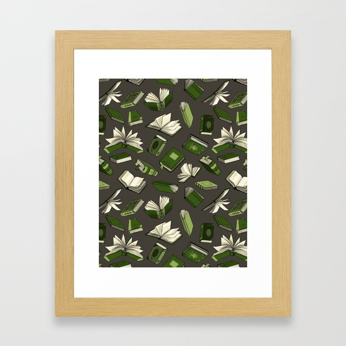 Spellbooks, green Framed Art Print