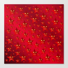 happy, smiling smileys on stars in rich red Canvas Print