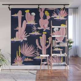 Kitschy Pink Cactus Cacti on Black Wall Mural