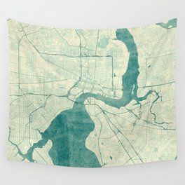 Jacksonville Map Blue Vintage Wall Tapestry