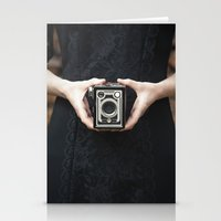vintage camera Stationery Cards featuring Vintage Camera by Maria Heyens