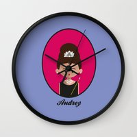 audrey hepburn Wall Clocks featuring Audrey Hepburn by Juliana Motzko