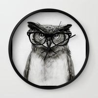 hipster Wall Clocks featuring Mr. Owl by Isaiah K. Stephens