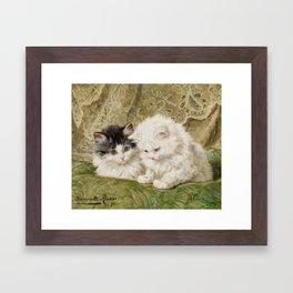 RONNER-KNIP, HENRIETTE 1821 Amsterdam - 1909   Two Kittens Framed Art Print