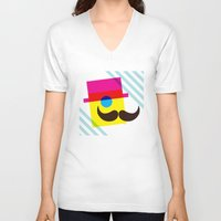 mid century V-neck T-shirts featuring Mid Century Mustache Man - CMYK by Modern South Design