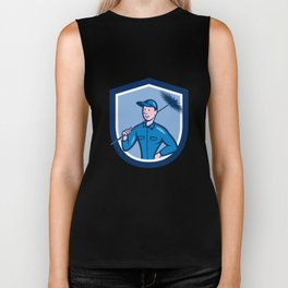 Chimney Sweep Worker Shield Cartoon Biker Tank