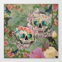 Victorian Floral Sugar Skulls Canvas Print