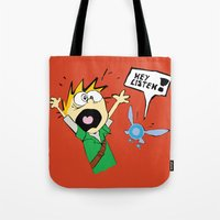calvin and hobbes Tote Bags featuring Calvin the Timeless Hero by DonCorgi