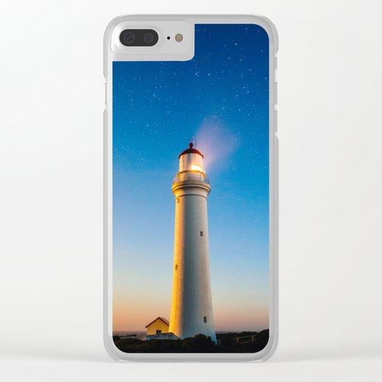 Lighthouse at night Clear iPhone Case