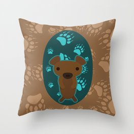 Bear with Paw Prints Throw Pillow