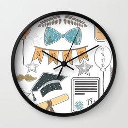 Graduation Package. Dark Background with rich golden graduation elements Wall Clock