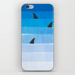 Sharks - shark week trendy black and white minimal kids pattern print ombre blue ocean surfing  iPhone Skin