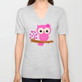 Pink Owl On A Branch | 8 Bit Pixel Art Unisex V-Neck