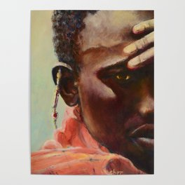Dignity - Portrait of a Maasai Warrior. Oil on Canvas Poster