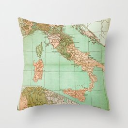 Italy in 1490 - Vintage Map Series Throw Pillow