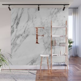 Monogram rose gold marble F Wall Mural