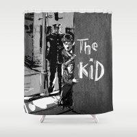 charlie chaplin Shower Curtains featuring Charlie Chaplin - The Kid by pabpaint