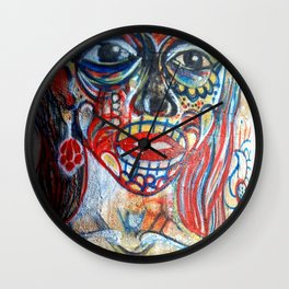Sugar Skull Girl Wall Clock