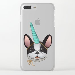 French Bulldog Unicorn Clear iPhone Case