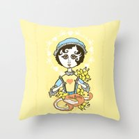jane austen Throw Pillows featuring Jane Austen Holy Writer by roberto lanznaster