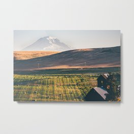 Grain Silo Overlooking Golden Fields & Snowy Mountain Metal Print