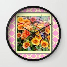 Apricot-Pink Color Petunias Lattice Design Wall Clock