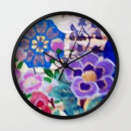 Japanese Vintage Floral Textile Pattern Wall Clock