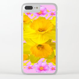 Yellow Daffodils & Pink Roses Abstract Clear iPhone Case