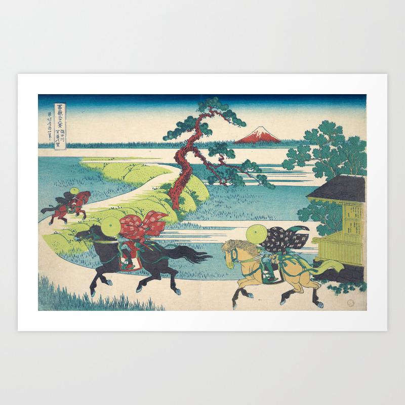 Katsushika Hokusai Sekiya Village On The Sumida River Art Print By Fineearthprints Society6
