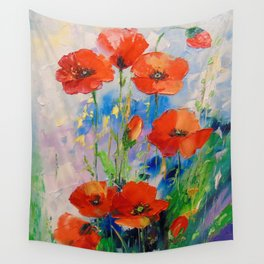 Poppies in a field Wall Tapestry