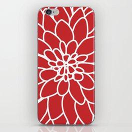Red Modern Dahlia Flower iPhone Skin