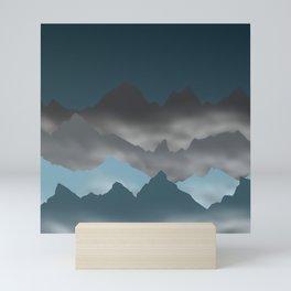 Blue Mountains and Mist Digital Illustration - Graphic Design Mini Art Print