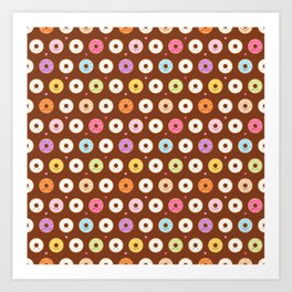 Kawaii Donuts Pattern on Brown Art Print