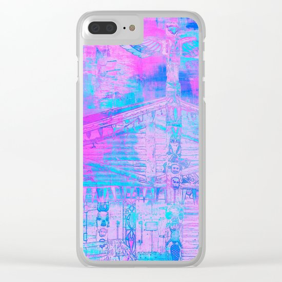 Totem Cabin Abstract - Hot Pink & Turquoise Clear iPhone Case