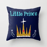 little prince Throw Pillows featuring Little Prince by My Little Thought Bubbles