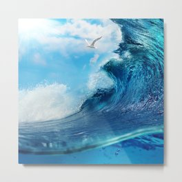 Beach Waves Ocean Blue Clouds Sun Sunset Metal Print