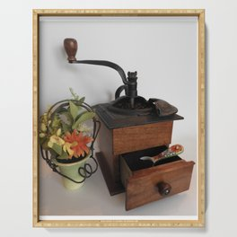 Antique Coffee Grinder with Coffee Grounds in Tray Serving Tray