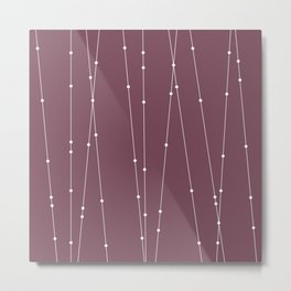 Contemporary Intersecting Vertical Lines in Mulberry Metal Print