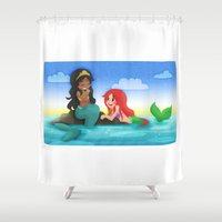 ouat Shower Curtains featuring OUAT - Mermaids by Choco-Minto