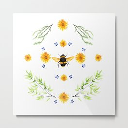 Bees in the Garden v.4 - Watercolor Graphic Metal Print
