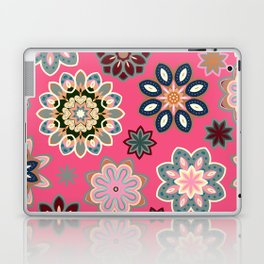 Flower retro pattern in vector. Blue gray flowers on pink background. Laptop & iPad Skin