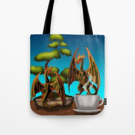Hot Coffee with Bonsai and Fire Dragons Tote Bag