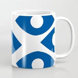 Blue and White Pattern Fish Eye Design Coffee Mug