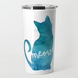 Watercolour Cat Silhouette Travel Mug