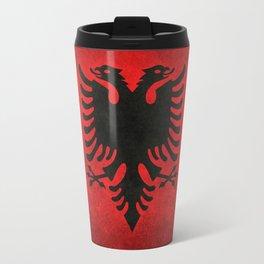 National flag of Albania with Vintage textures Travel Mug