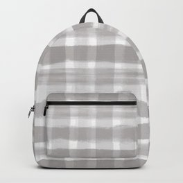 Slate Violet Gray SW9155 Watercolor Brushstroke Plaid Pattern on White Backpack