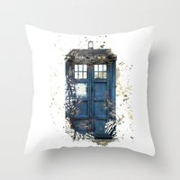 tardis Throw Pillows featuring Tardis by Abbie :)
