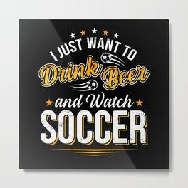 Football And Beer Metal Print