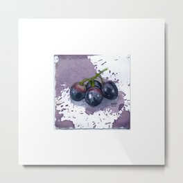 Grapes Watercolor on Wine-Stained Paper Metal Print