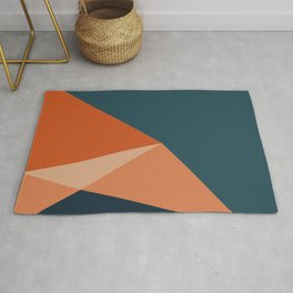 Abstract Triangle Abstraction in Teal and Orange Rug